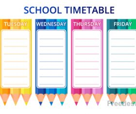 School timetable template with pencil vector