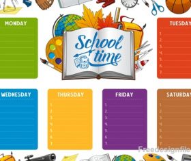 School timetable template with school background vector