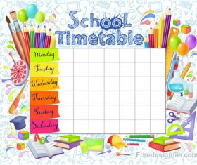 School timetable with stationery vector