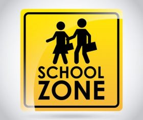 School zone road sign design vector