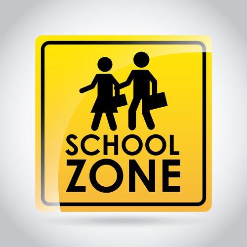 School zone road sign design vector