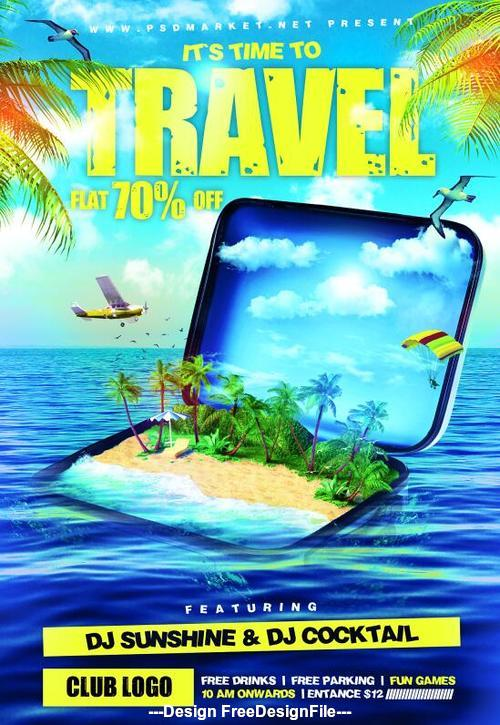 Sea with beach travel discount flyer psd template