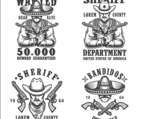 Sheriff and bandit emblems vector