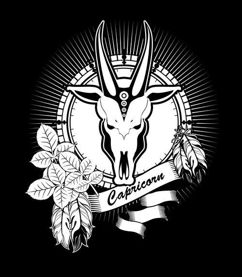 Silhouette Capricorn Zodiac sign vector