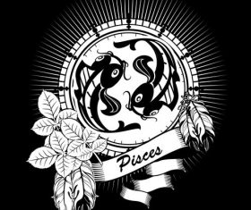 Silhouette Pisces Zodiac sign vector