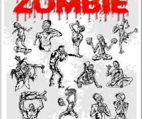 Sketch cartoon more zombies vectors