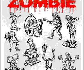 Sketch cartoon zombie vectors
