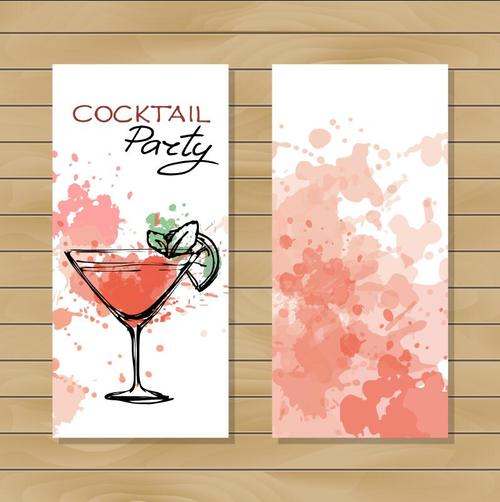 Sketch cocktail banner vector
