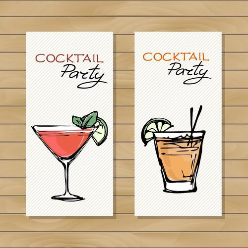 Sketch cocktail drink vector