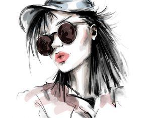 Sketch elegant style girl vectors