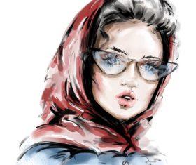 Sketch fashion girl illustration vectors