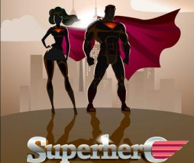 Sketch male and female superman cover vector