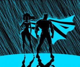 Sketch superman woman rain blu vector