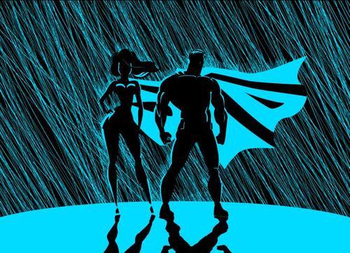 Sketch superman woman rain blu vector