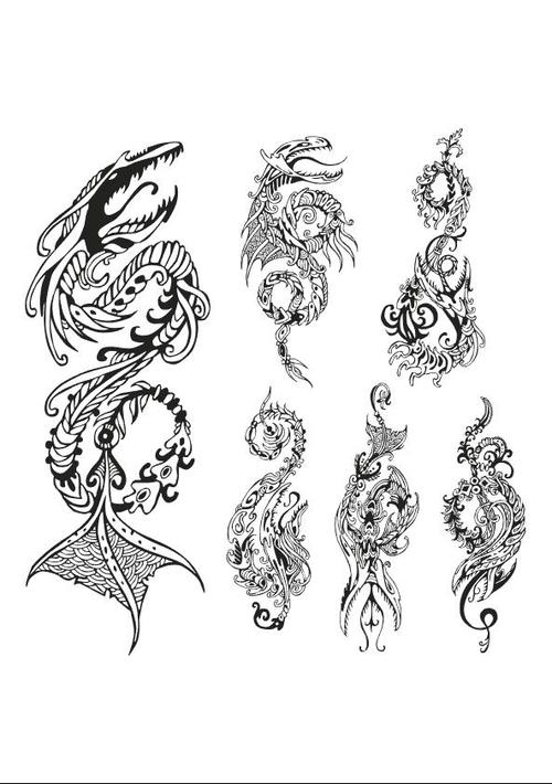 Sketch tattoo silhouette vector