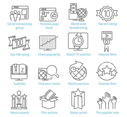 Social Media and Entertainment linear icons vector