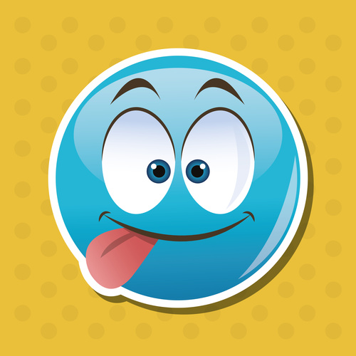 Sticking tongue out emoticon icon vector