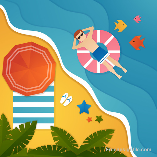 Summer beach holiady cartoon styles vector design 01