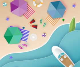 Summer beach holiady cartoon styles vector design 02