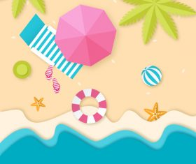 Summer beach holiady cartoon styles vector design 03