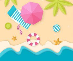 Summer beach holiady cartoon styles vector design 03