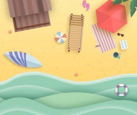 Summer beach holiady cartoon styles vector design 04