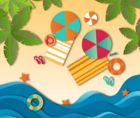 Summer beach holiady cartoon styles vector design 05