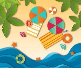 Summer beach holiady cartoon styles vector design 05