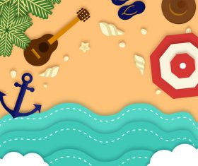 Summer beach holiady cartoon styles vector design 06