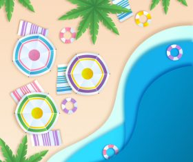 Summer beach holiady cartoon styles vector design 07
