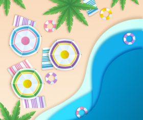 Summer beach holiady cartoon styles vector design 07