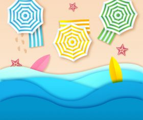 Summer beach holiady cartoon styles vector design 08