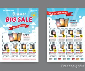 Summer electronic product sale flyer vector 02