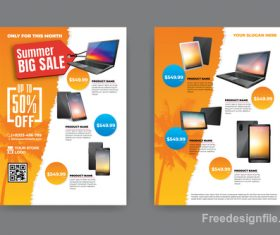 Summer electronic product sale flyer vector 04