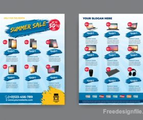 Summer electronic product sale flyer vector 06