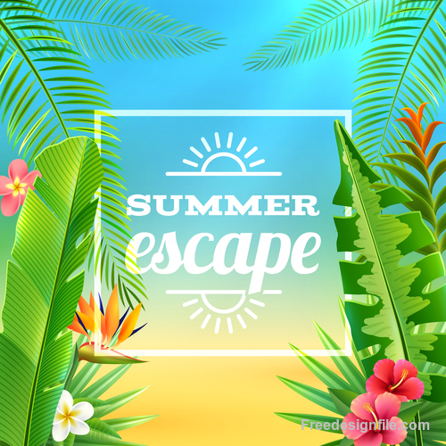 Summer holiday background with trpoic vector