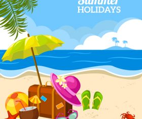 Summer holiday travel design with teach and sea vector
