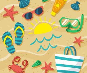 Summer seashore and beach accessories design vector