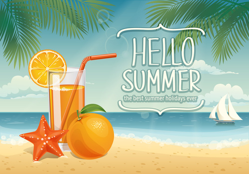 Summer tropical beach and drinks vectors