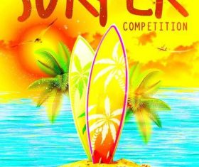 Surfer competition flyer psd template design 01