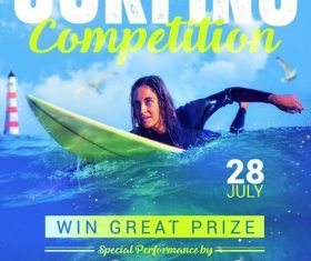 Surfer competition flyer psd template design 02