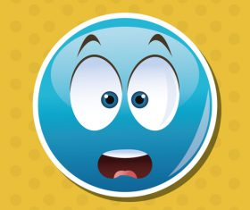 Surprised emoticon icon vector