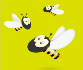 Three cute cartoon bees vectors