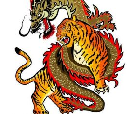 Tiger and Dragon colorful vector