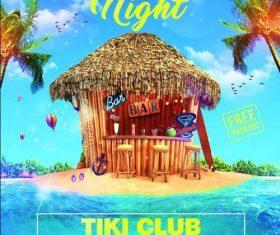 Tiki bar night flyer psd template