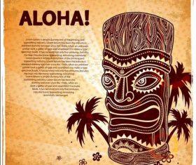 Tiki poster illustration vector