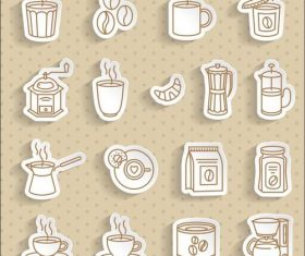 Transparent stickers coffee vector