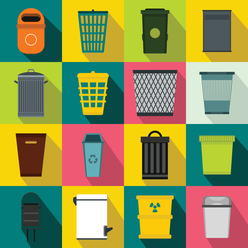 Trash can flat style icons vector