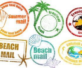 Travel memorial stamp vectors