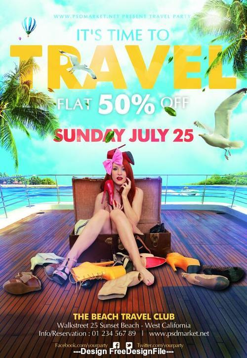 Travel party flyer psd template wiht girl
